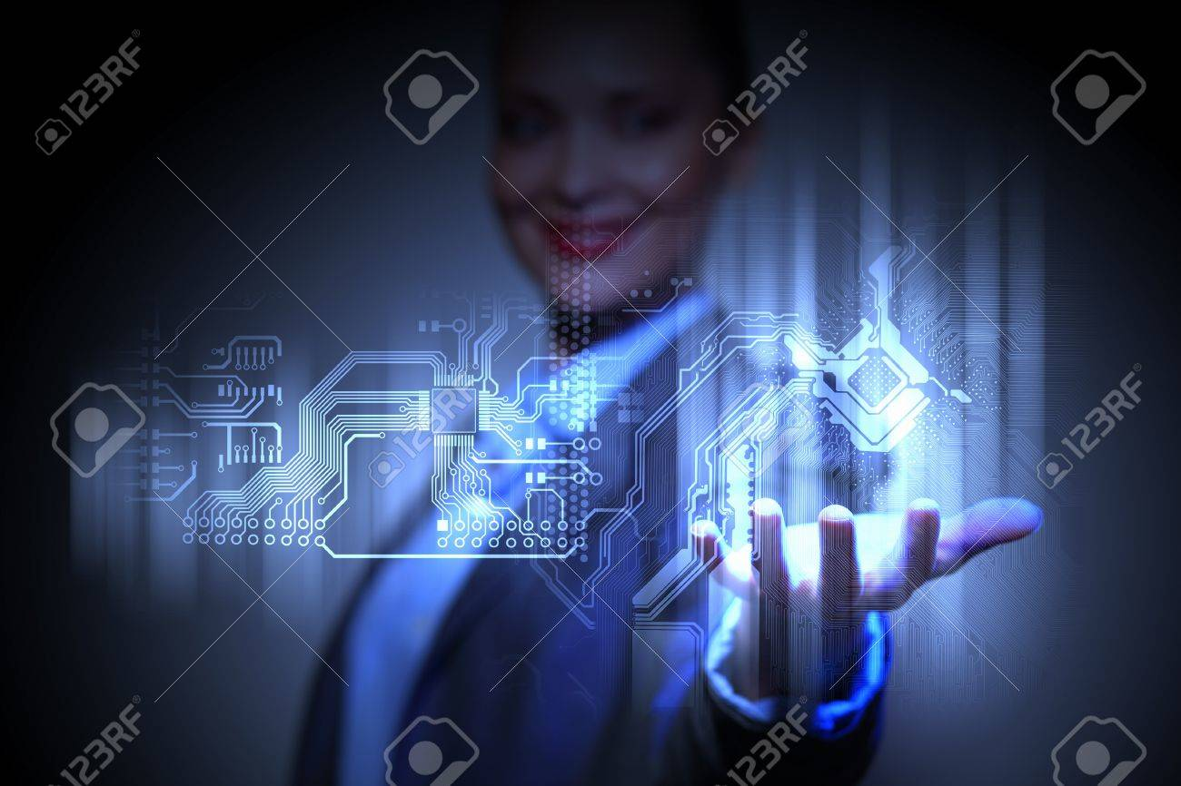 Control programming algorithm block with business person on the background Stock Photo - 16866036