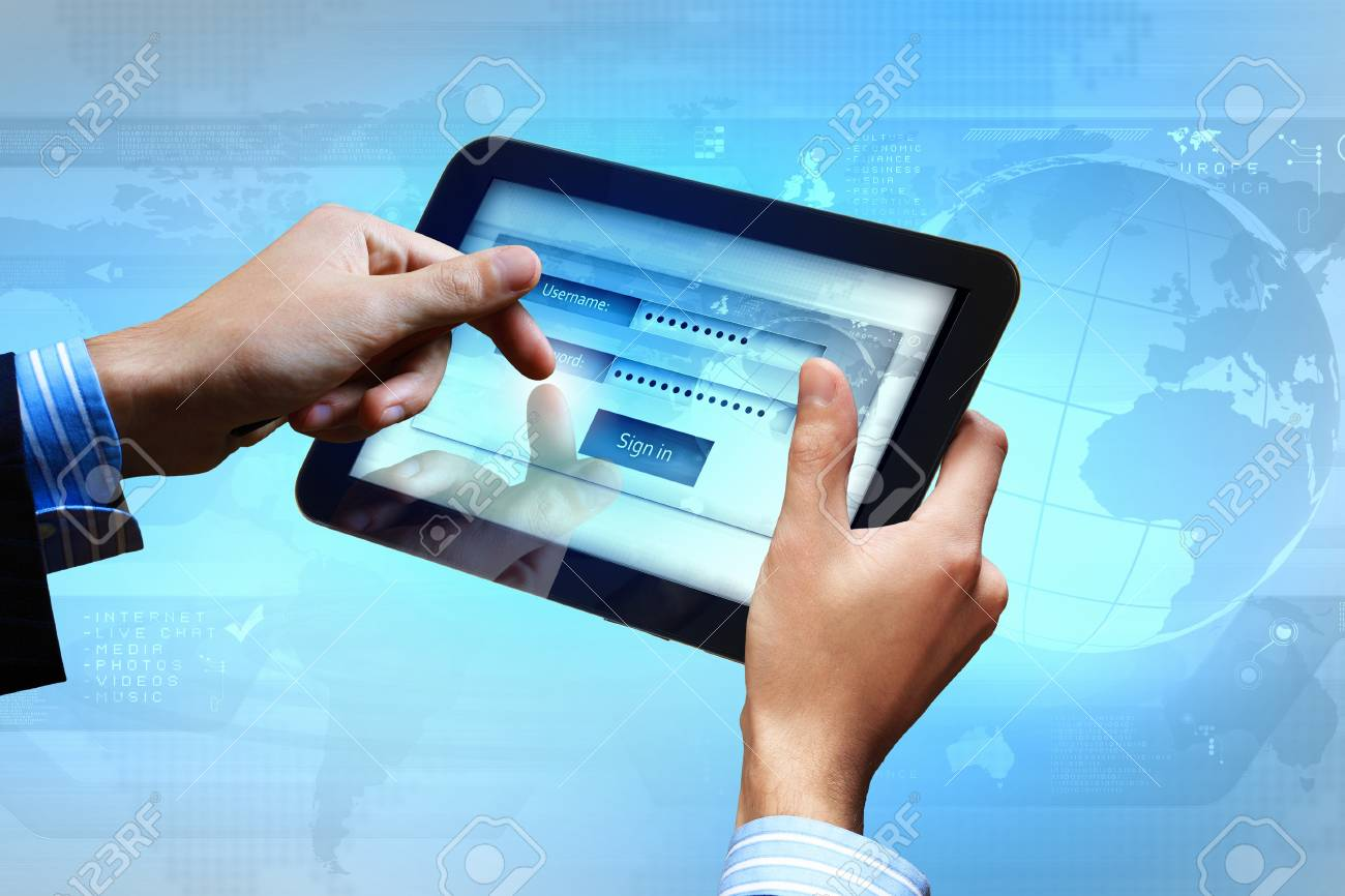 Login with email and password on computer screen Stock Photo - 16897085