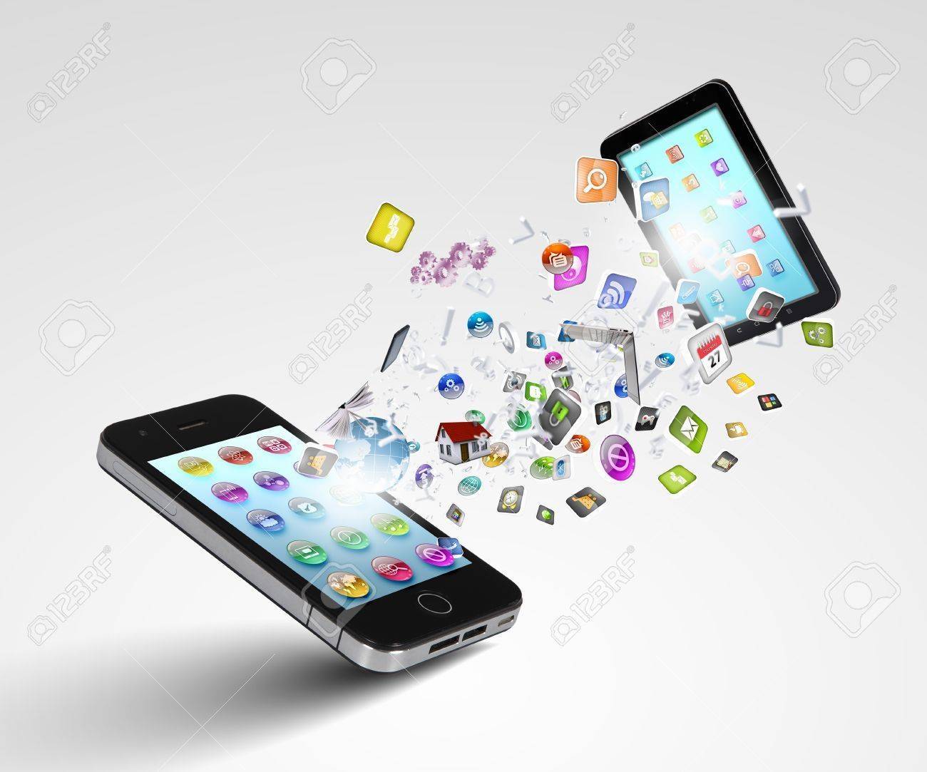 Modern communication technology illustration with mobile phone and high tech background Stock Illustration - 16896895