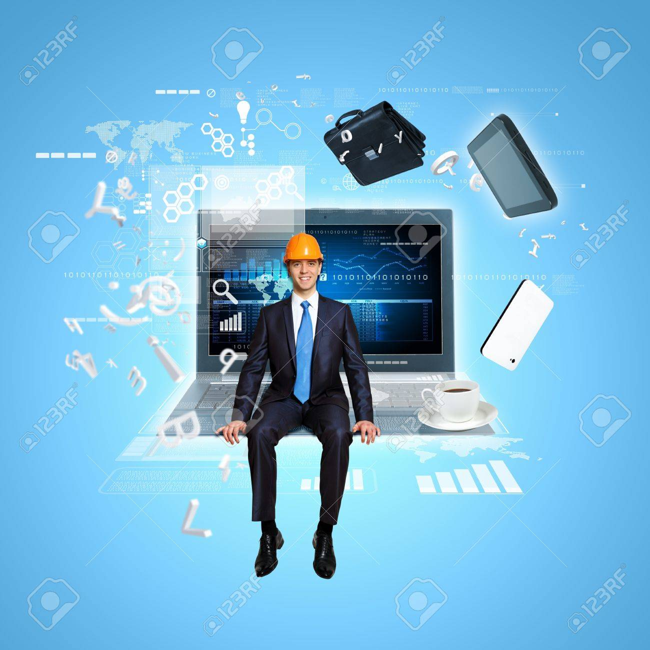 Modern technology illustration with computers and business person Stock Illustration - 16895745
