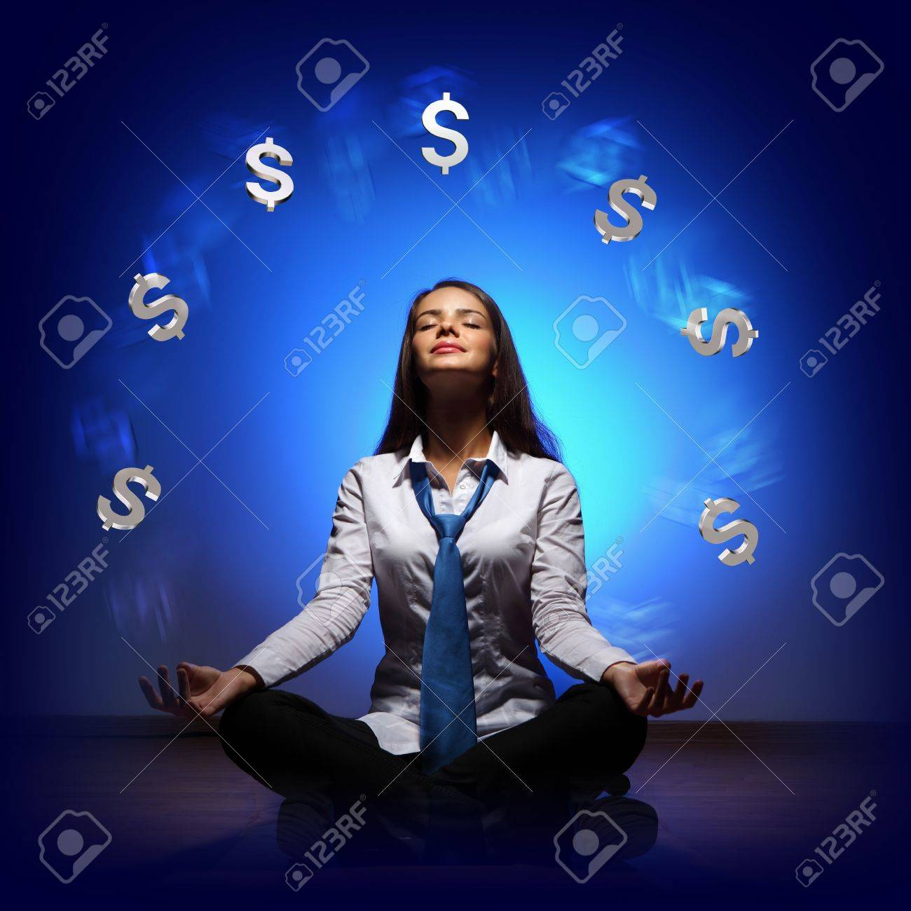 Businesswoman with financial symbols around her on the background Stock Photo - 16895729