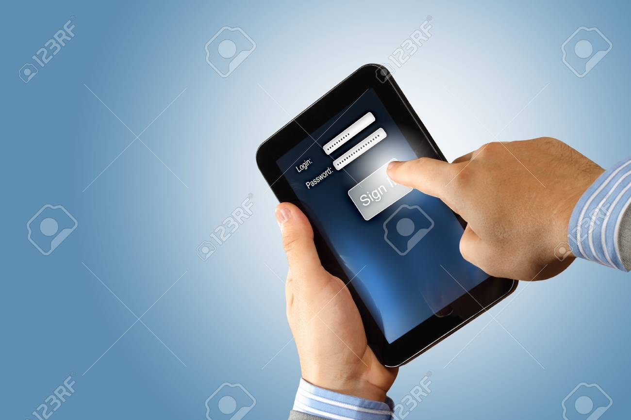 Login with email and password on computer screen Stock Photo - 16959991