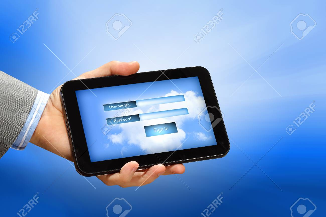 Login with email and password on computer screen Stock Photo - 16960130