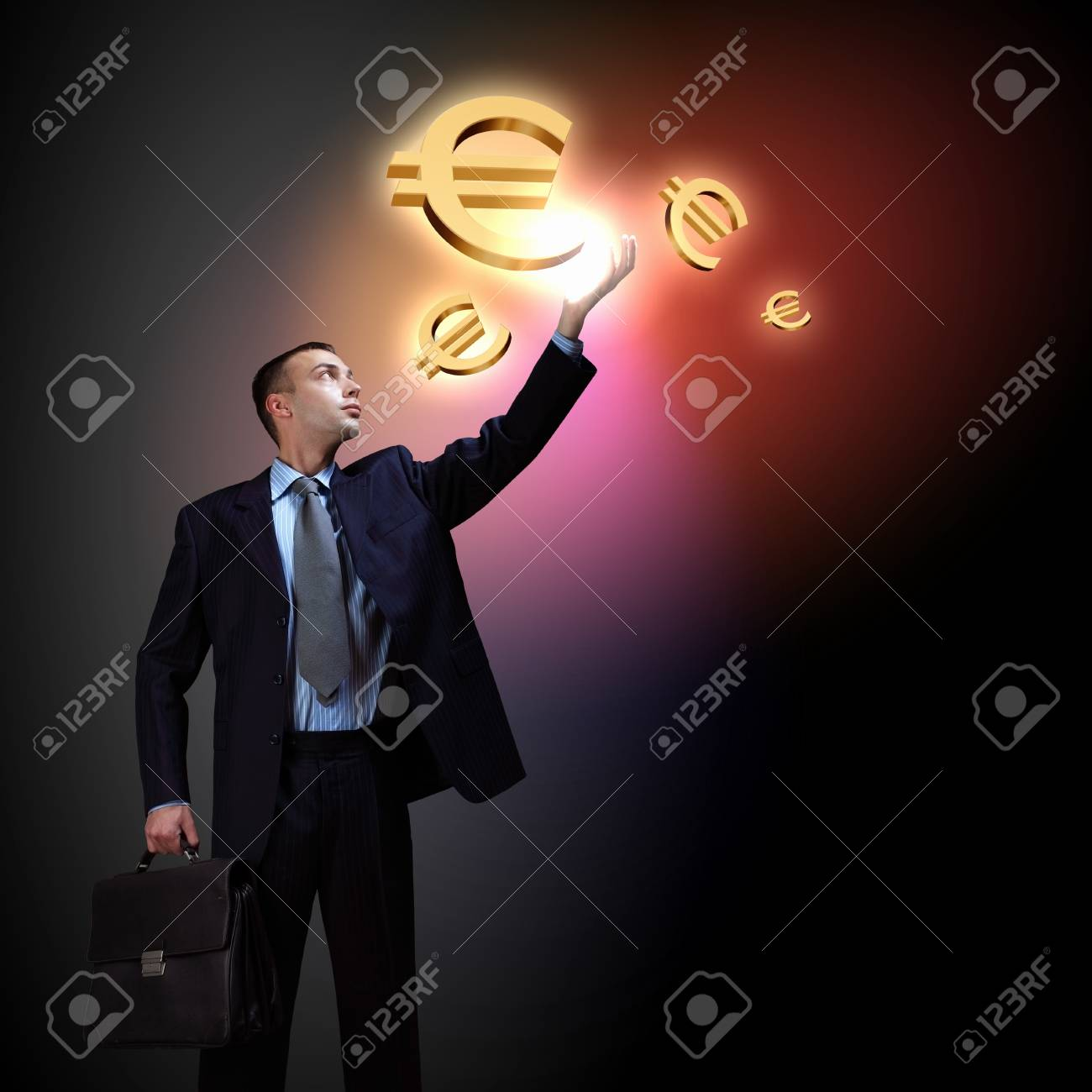 Modern people doing business, young businessman with money symbols Stock Photo - 16960202