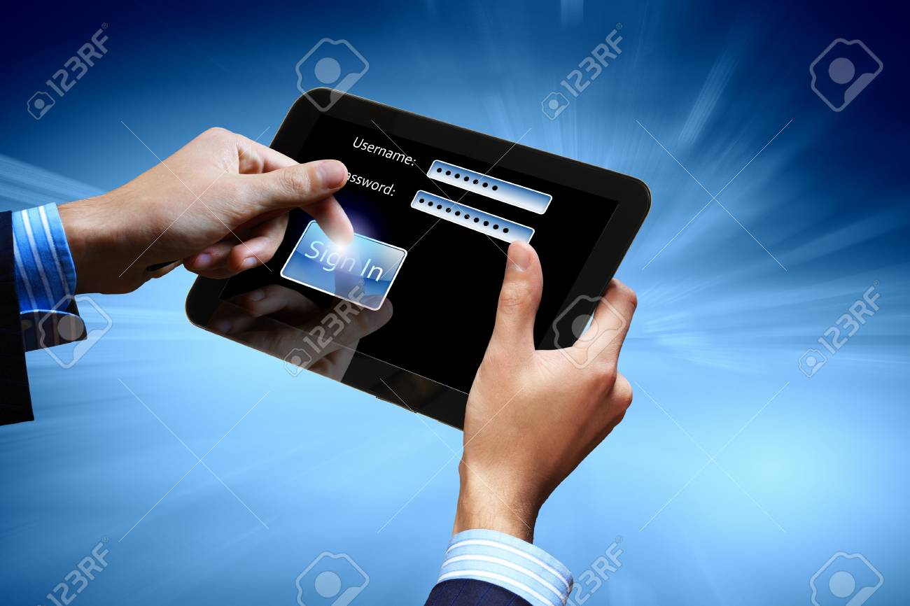 Login with email and password on computer screen Stock Photo - 16982887
