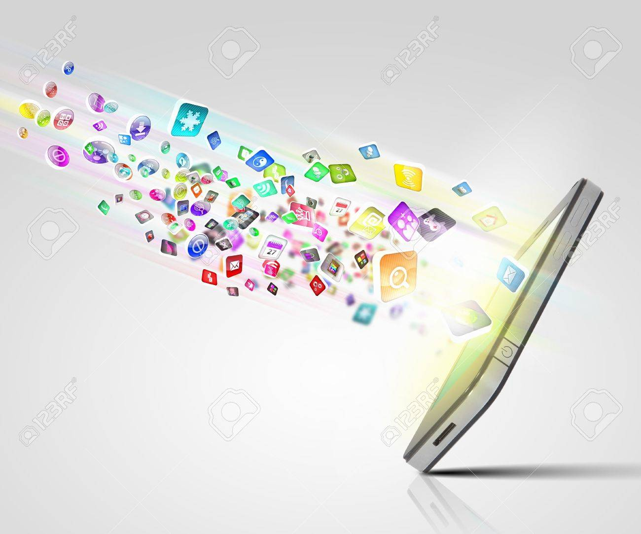 Media technology illustration with mobile phone and icons Stock Illustration - 16995837