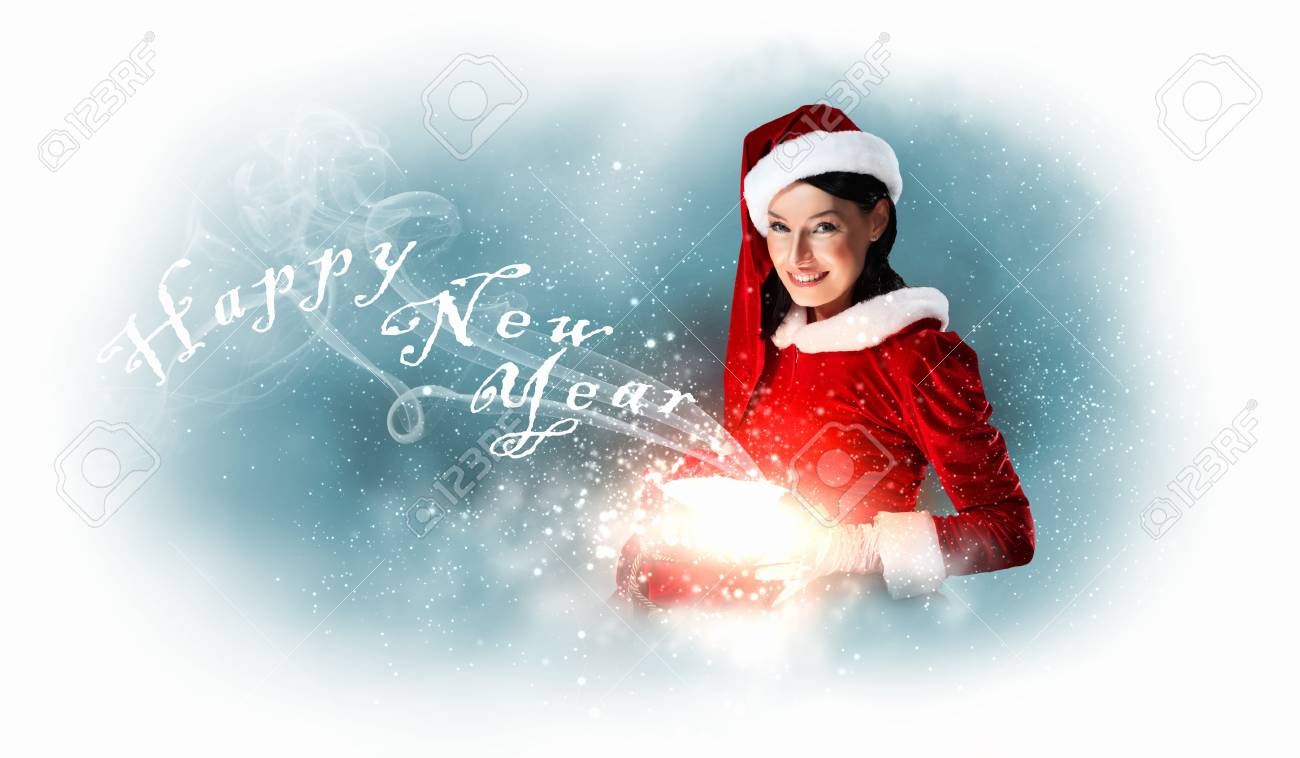 Christmas illlustration of beautiful girl in santa costume Stock Photo - 17022399