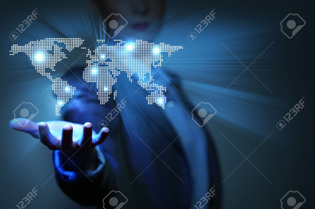 Blue global technology background with the planet Earth map Stock Photo - 17022478