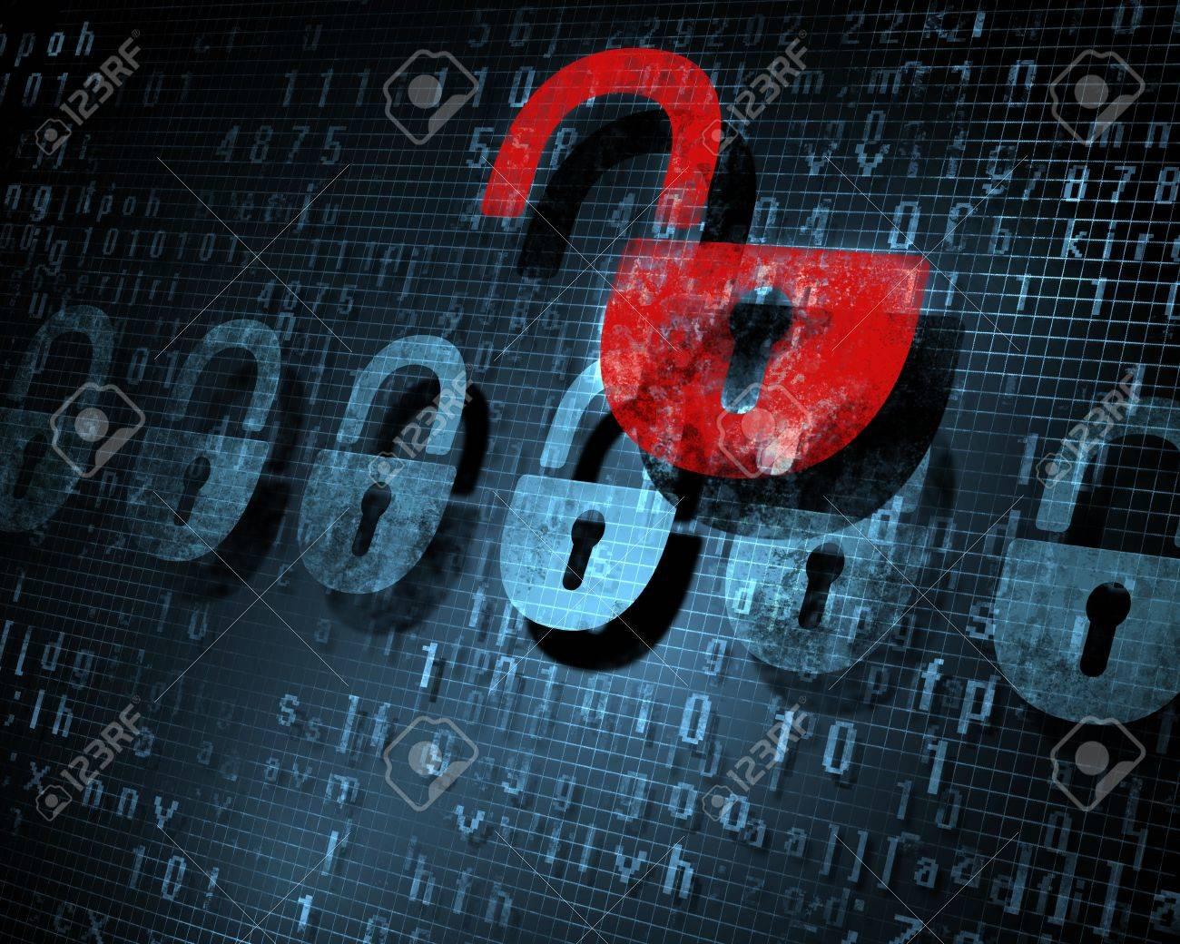 Security concept  Lock on digital screen, illustration Stock Photo - 17022146