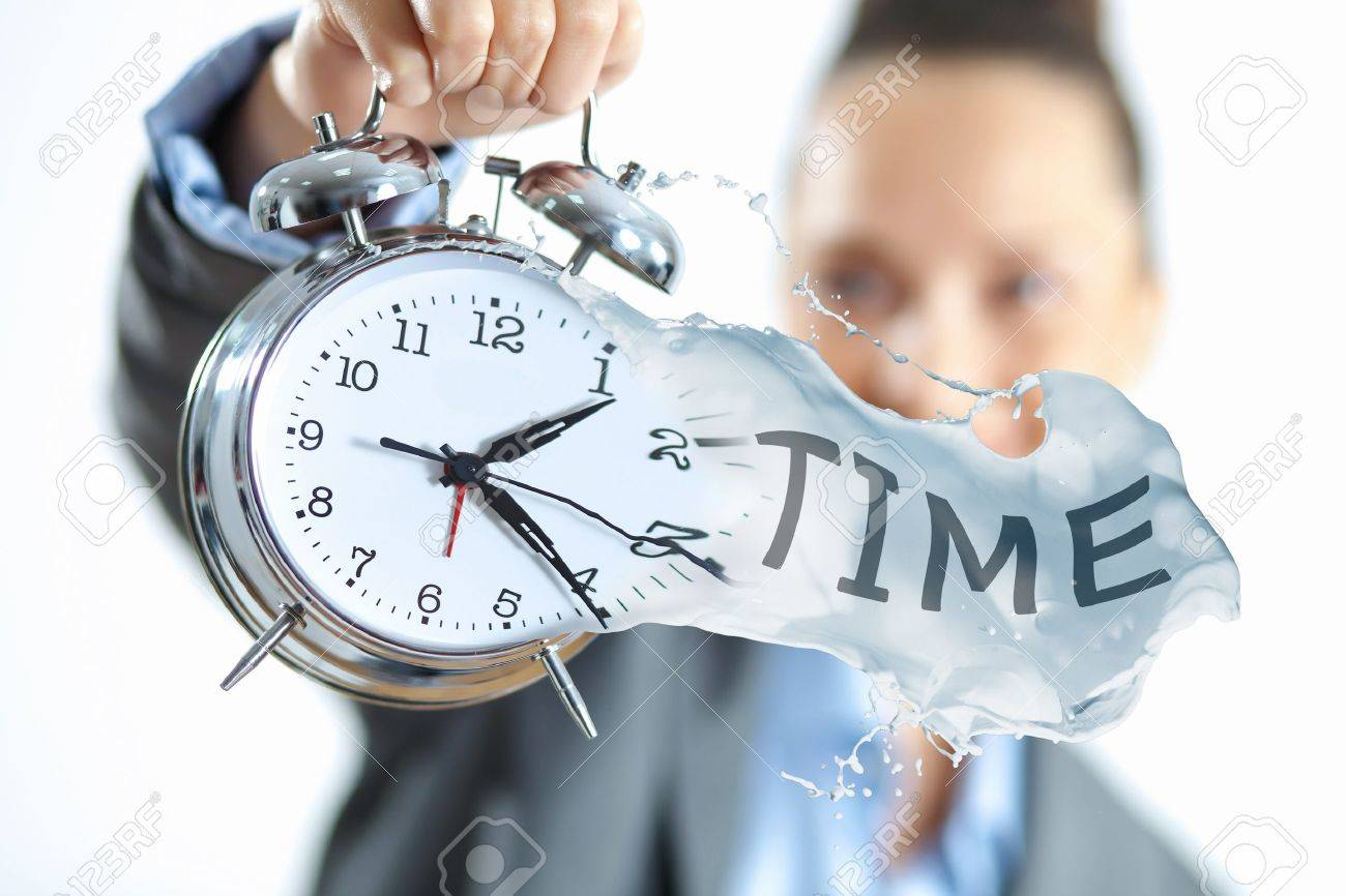 Time in business illustration with clock in hands of businesswoman Stock Illustration - 17054934