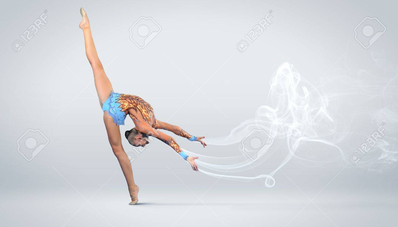 Young cute woman in gymnast suit show athletic skill on white background Stock Photo - 17055892