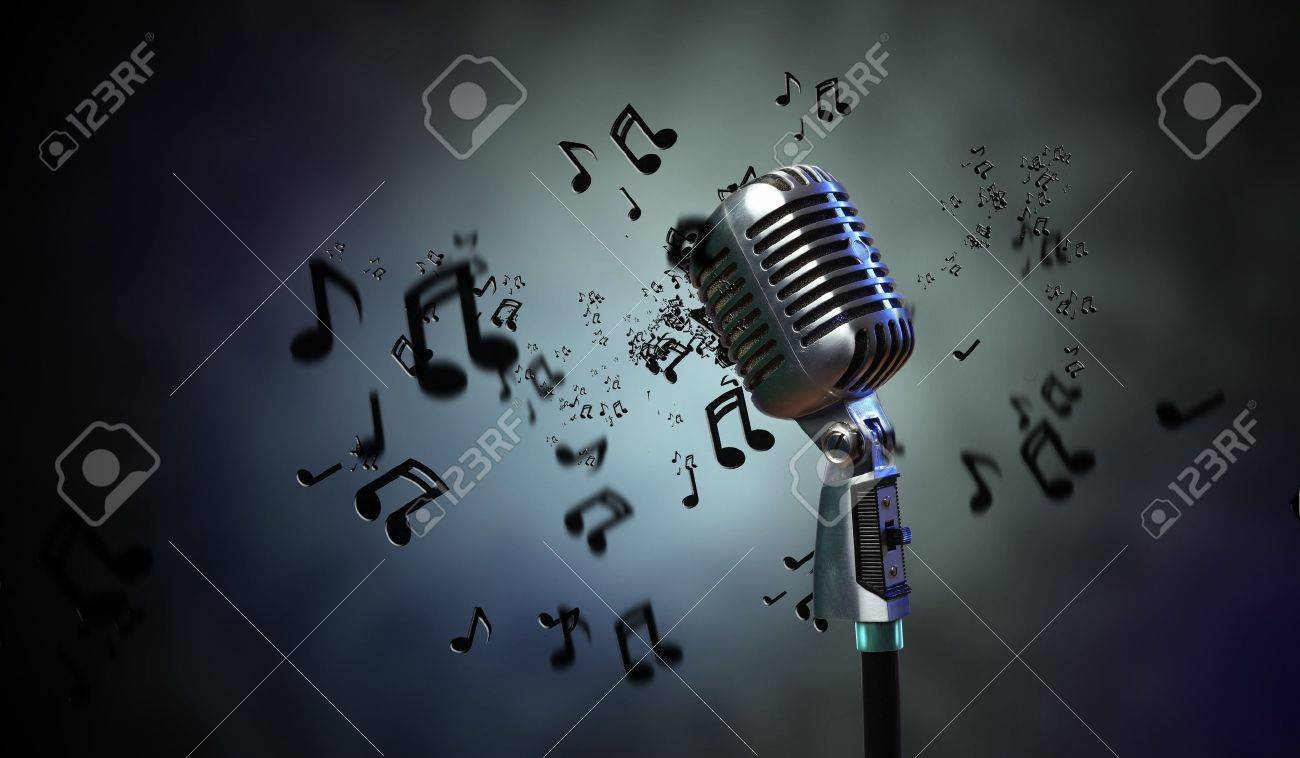 Single retro microphone against dark background with music notes Stock Photo - 17397850