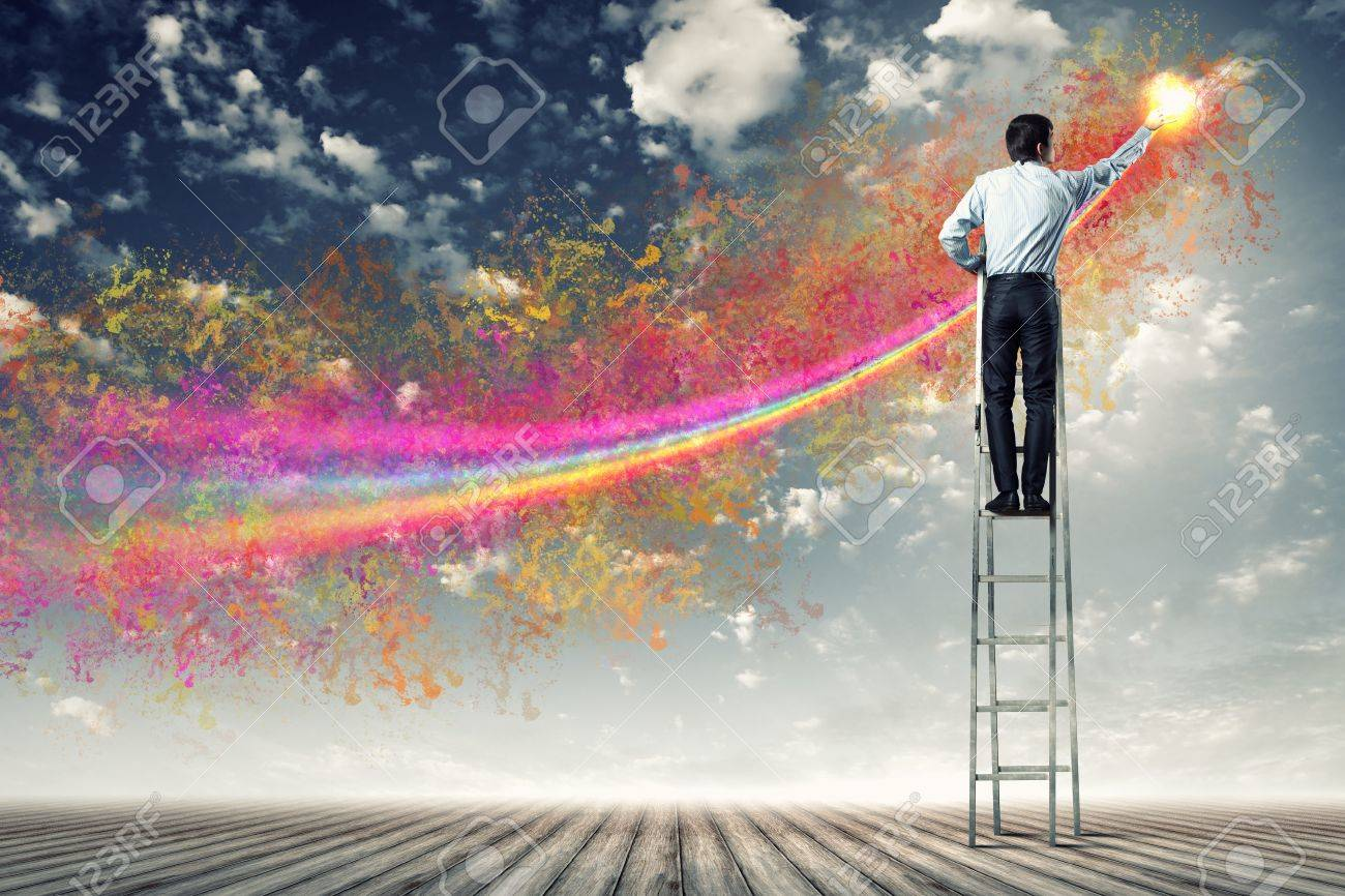 young man standing with back on ladder painting splashes Stock Photo - 17532559