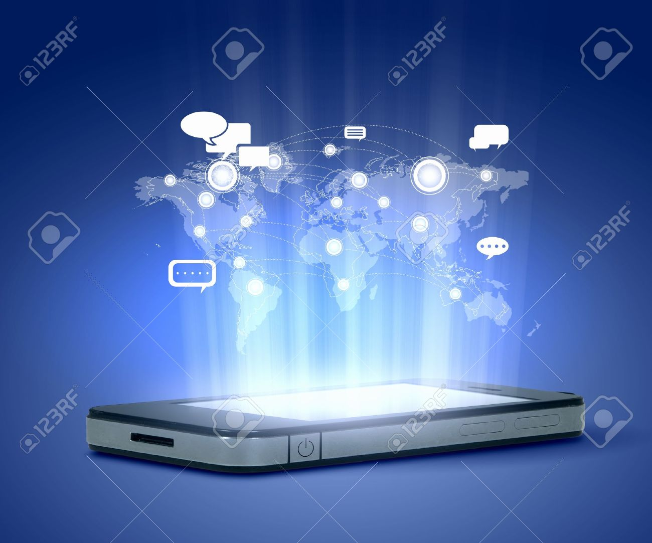 Modern communication technology illustration with mobile phone and high tech background Stock Photo - 17531486