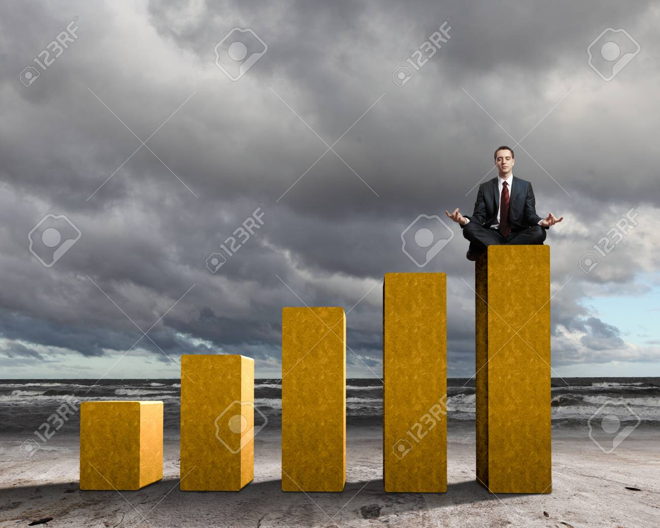Business person on a graph, representing success and growth Stock Photo - 17869749