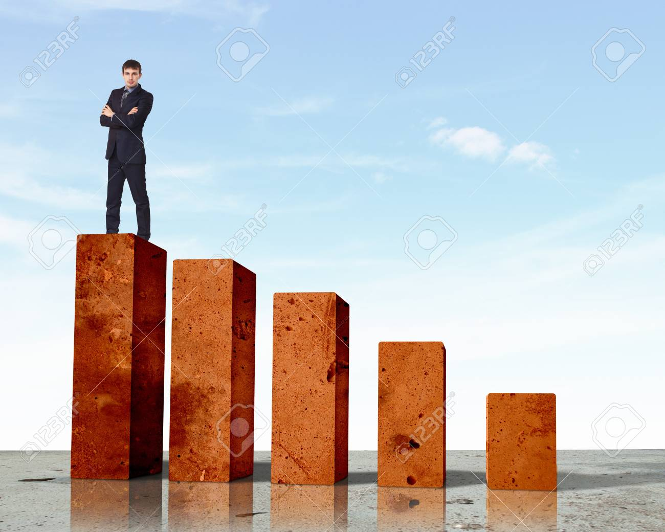 Business person on a graph, representing success and growth Stock Photo - 17869751