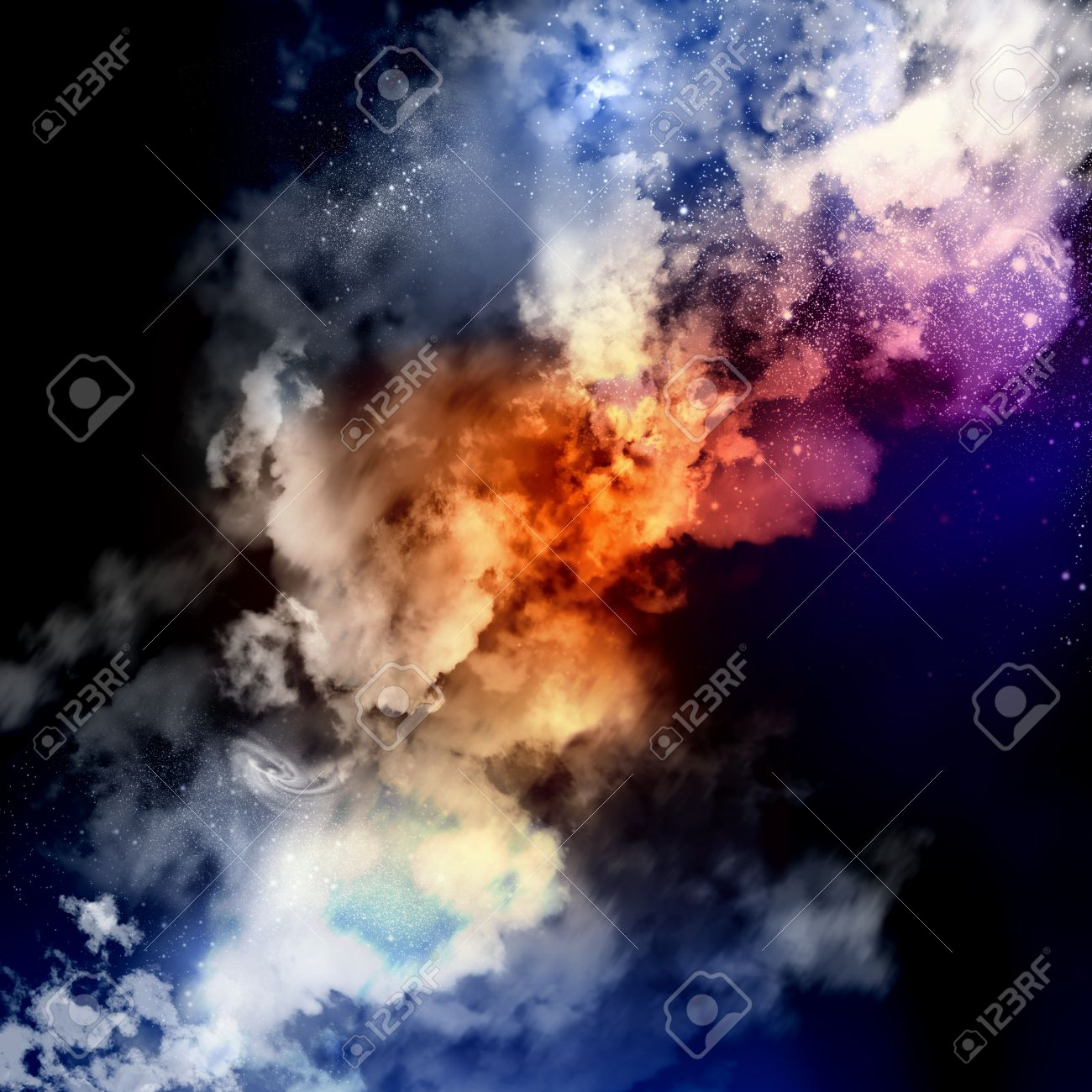 Cosmic clouds of mist on bright colorful backgrounds Stock Photo - 18011310
