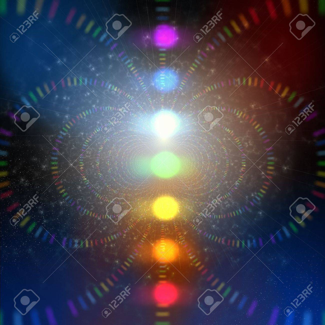 cosmic energy abstract background with rainbow corcles Stock Photo - 18051912