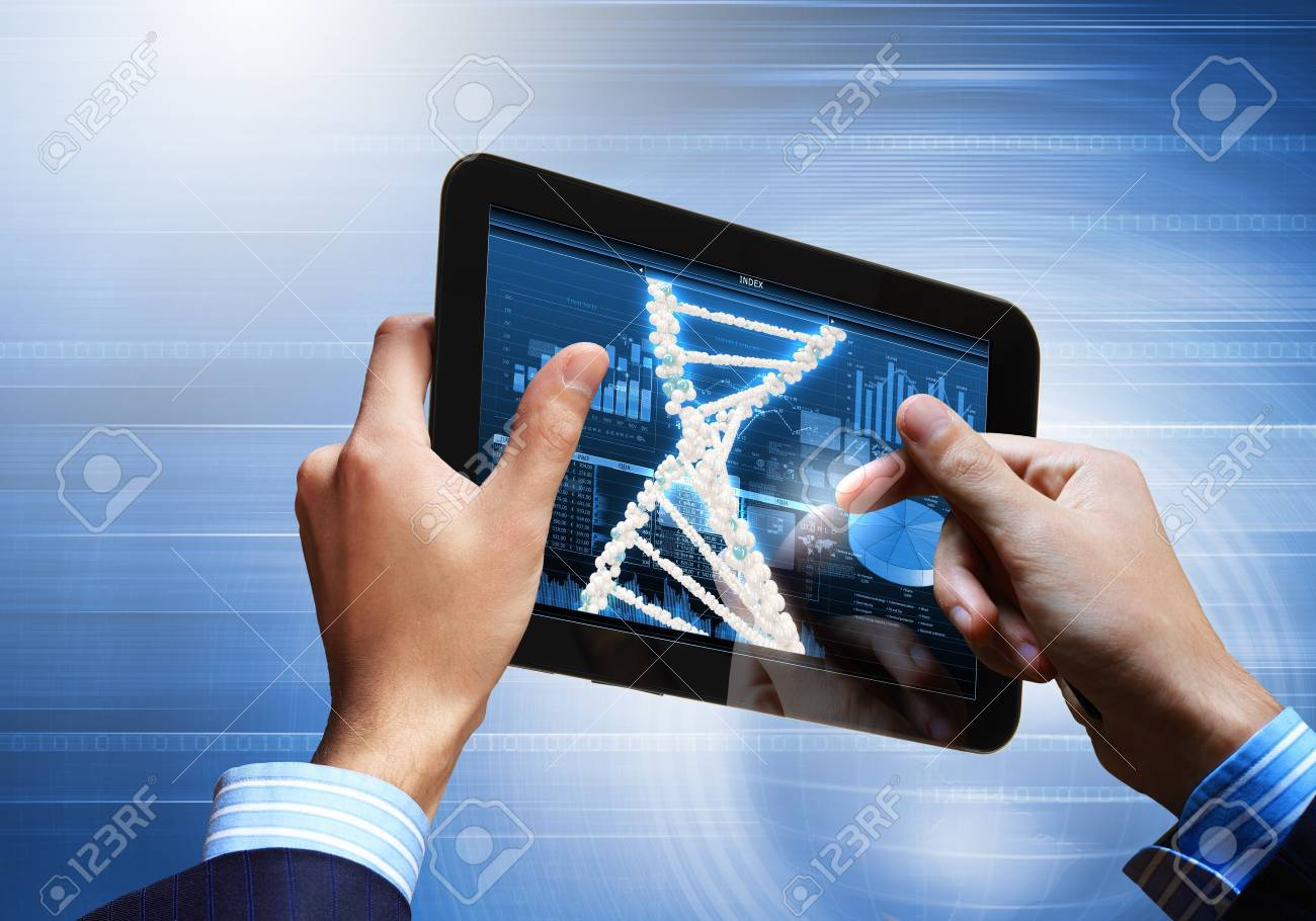 DNA helix abstract background on the tablet screen  Illustration Stock Photo - 18051886