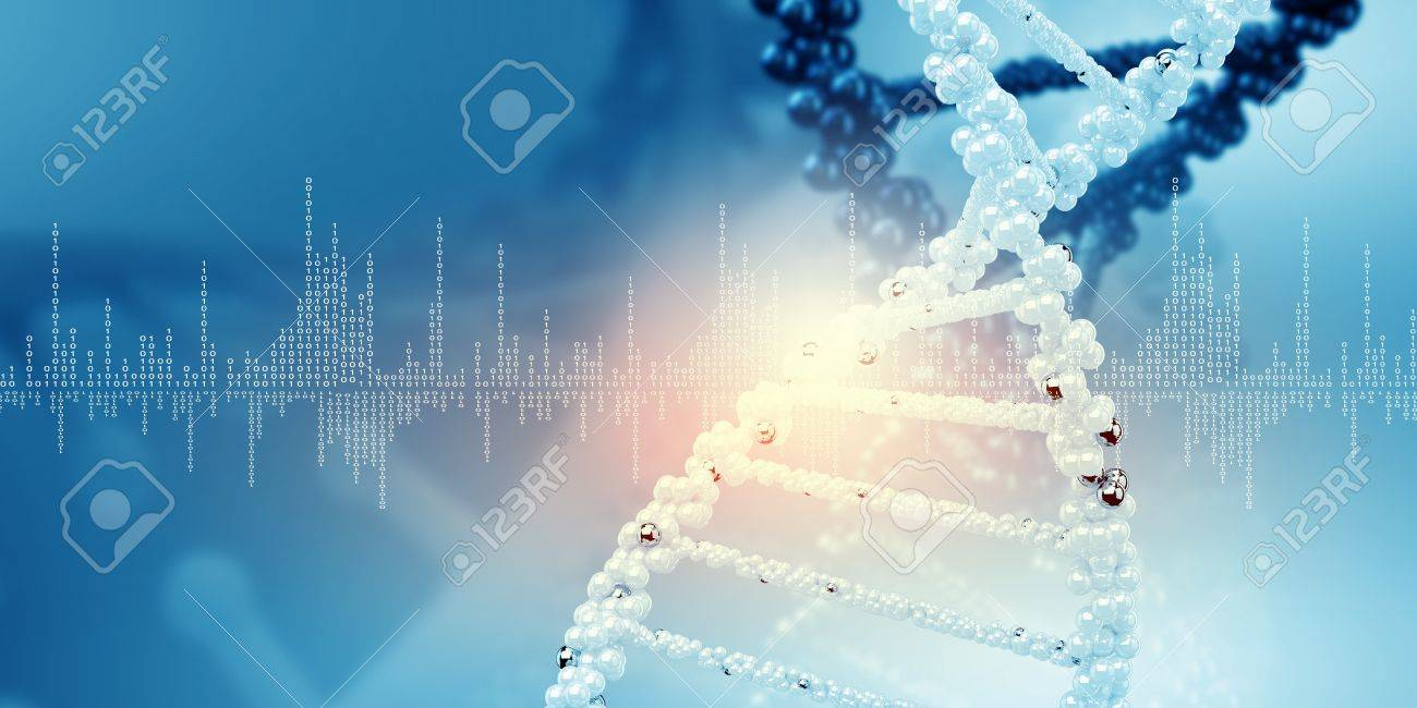 DNA molecule is located in front of a colored background  abstract collage Stock Photo - 18794114