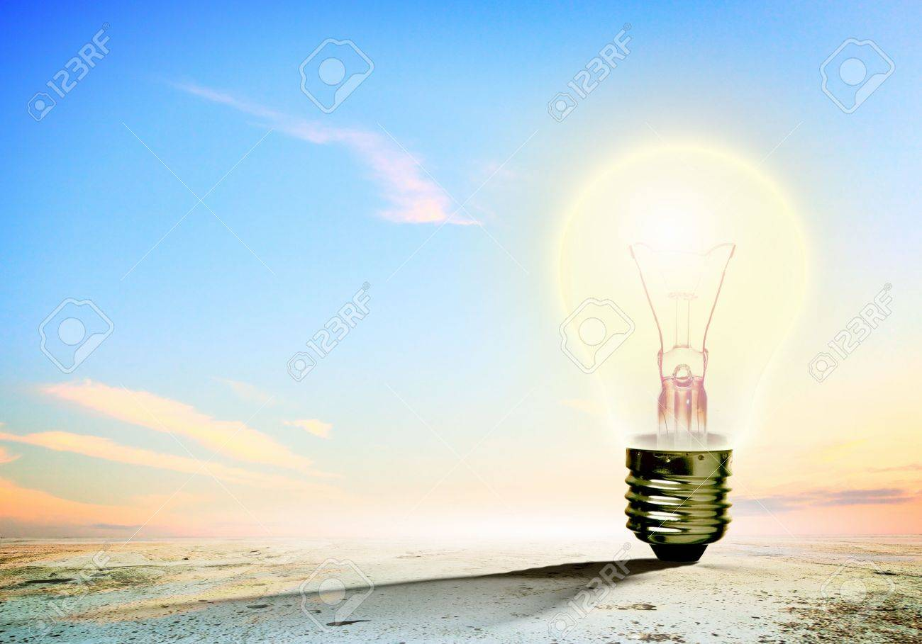Image of light bulb against nature background  Ecological concept Stock Photo - 19821344