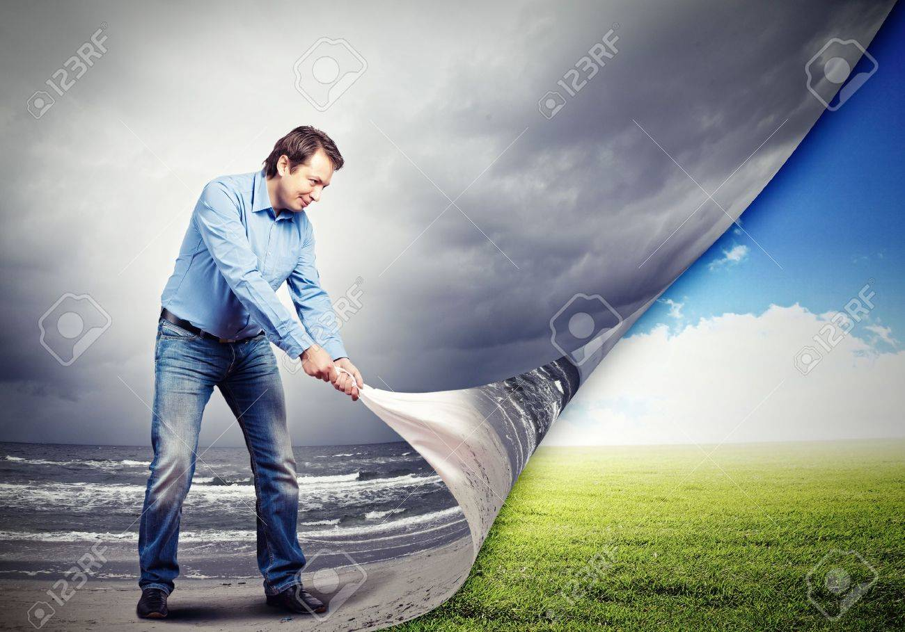 Image of adult handsome man changing reality Stock Photo - 19976485