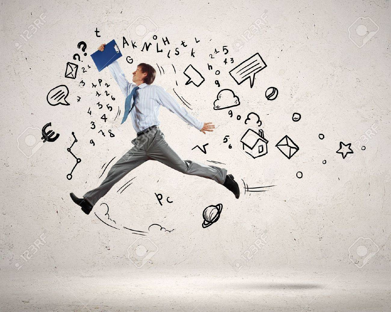 Image of jumping young businessman  Business collage Stock Photo - 20026360