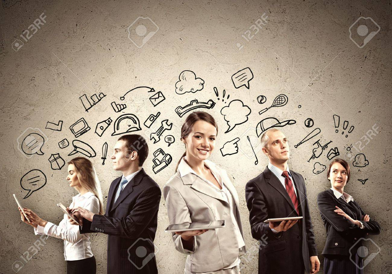 Image of young businesspeople team  Collage background Stock Photo - 20026495