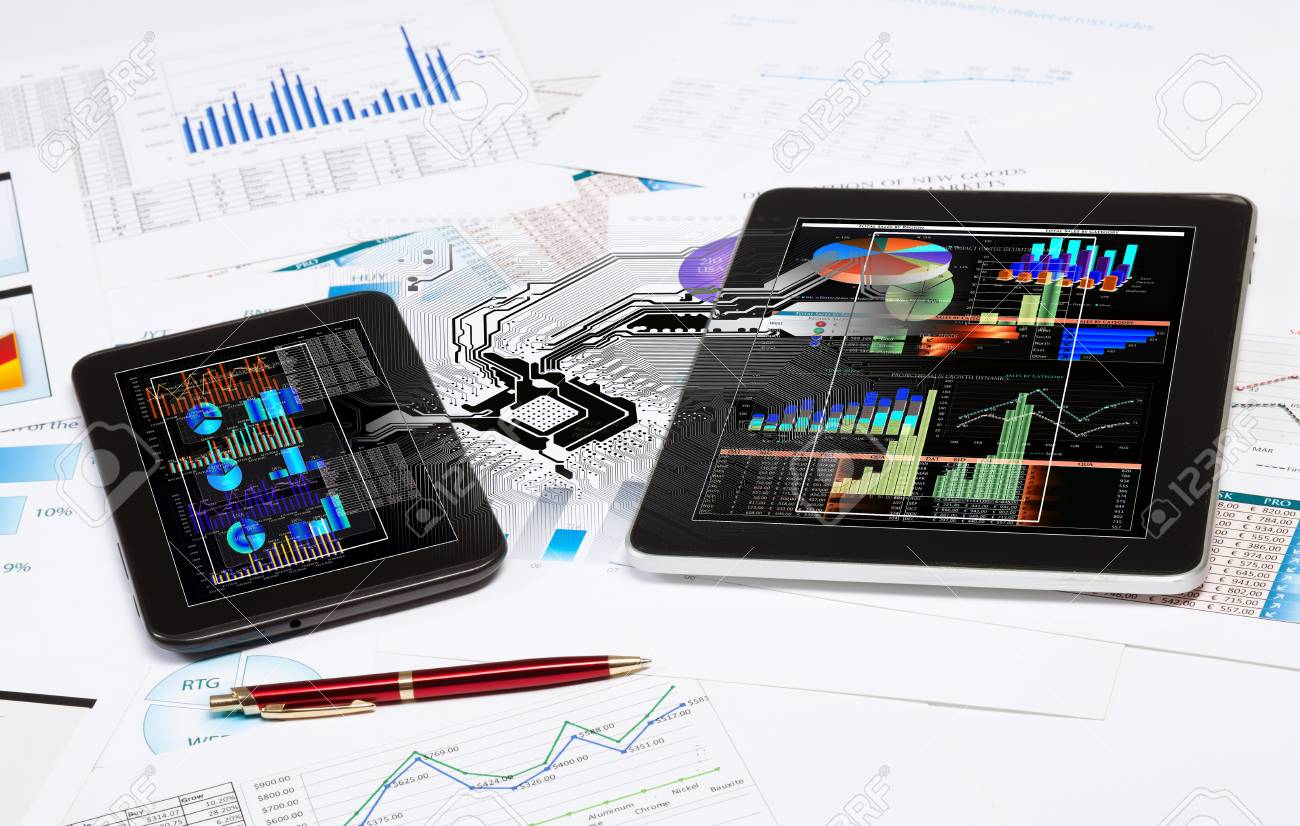 Image of tablet and tablet pc with diagrams illustration Stock Illustration - 20057080