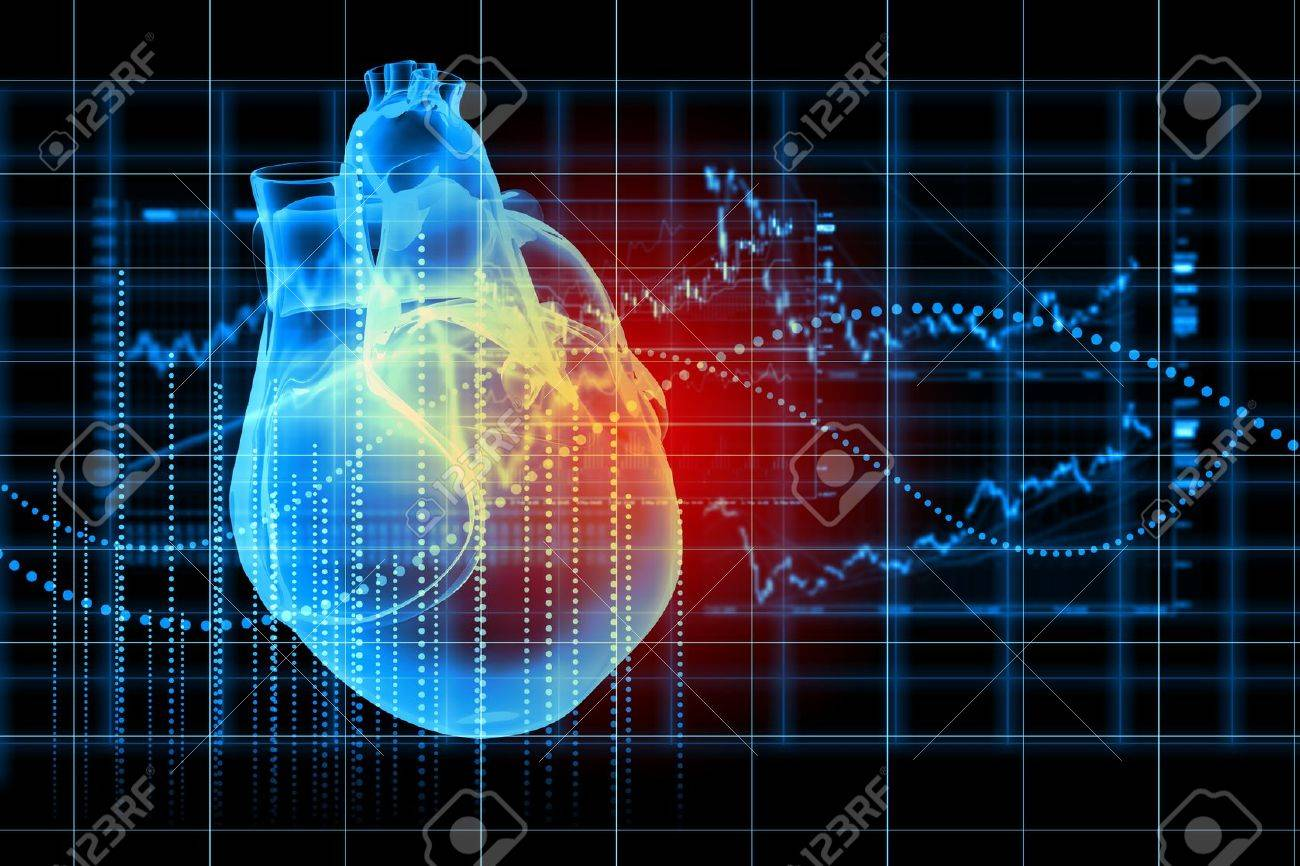 Virtual image of human heart with cardiogram Stock Photo - 20149705