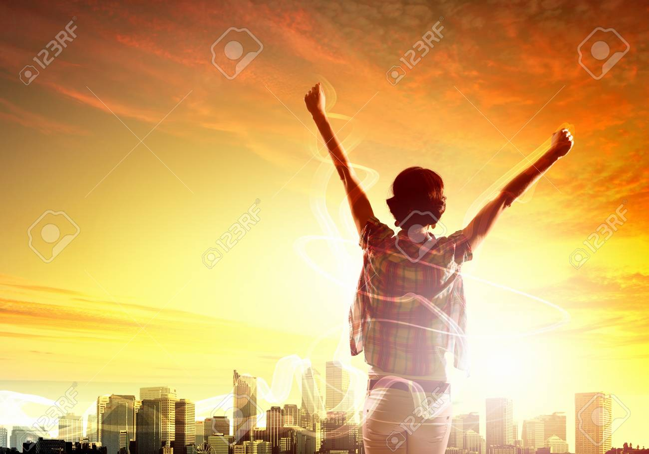 Girl meets backlit dawn  Abstract color collage Stock Photo - 20327318