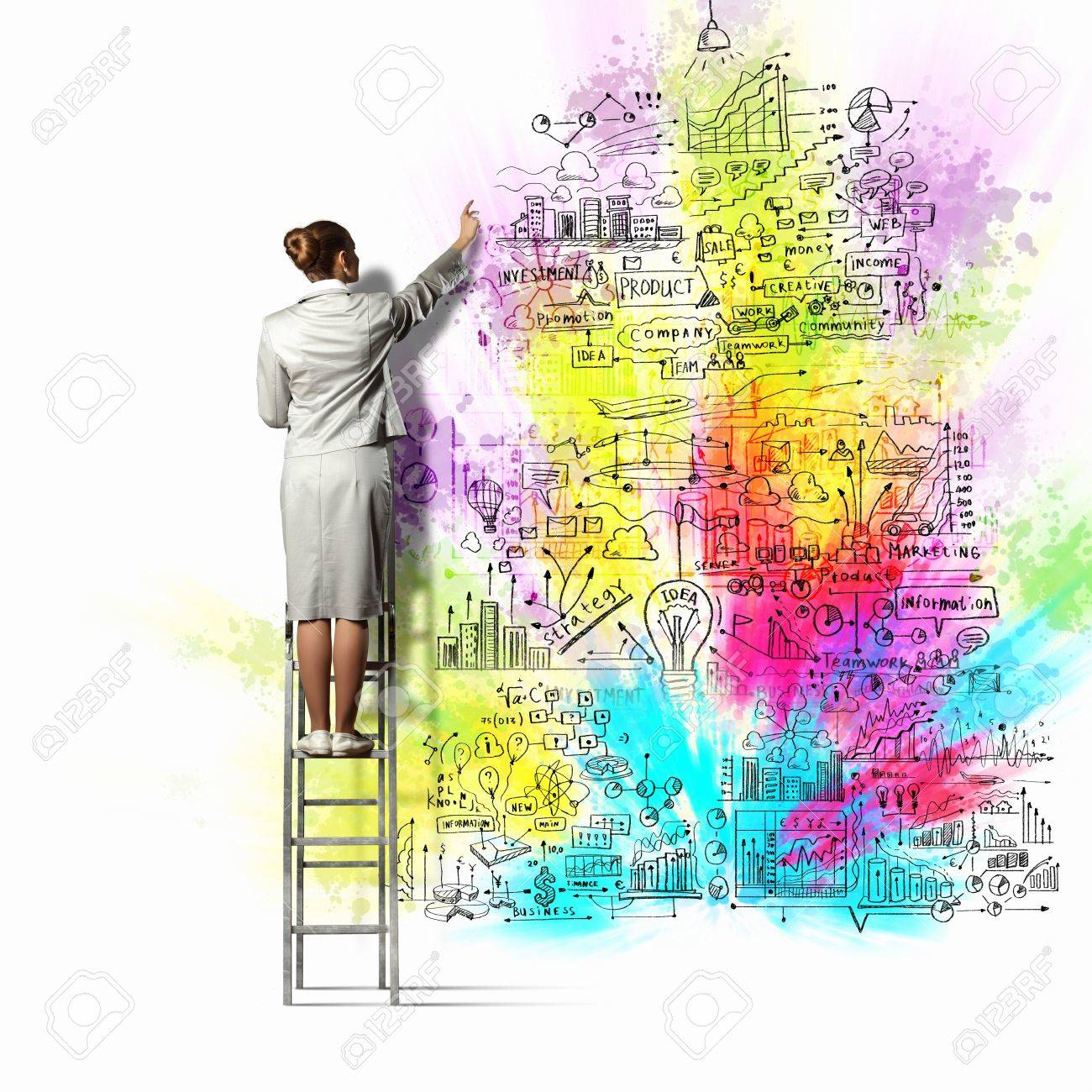 Back View Of Businesswoman Drawing Colorful Business Ideas On ...
