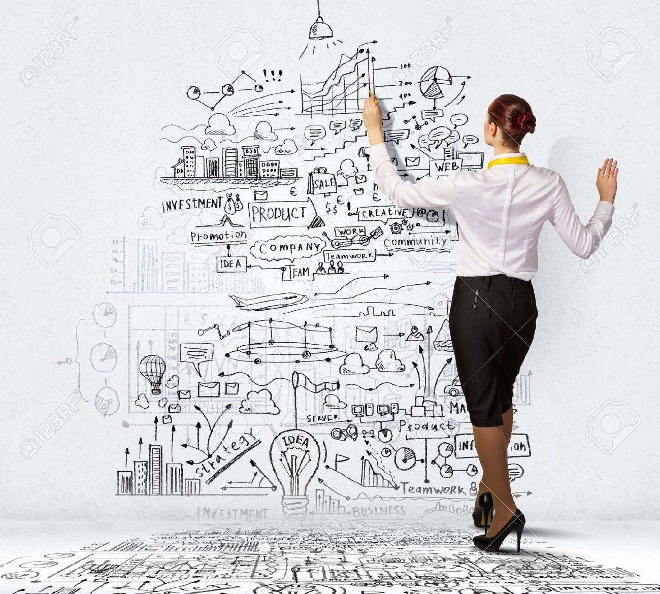 Femme D Affaires Debout Avec Le Dos De Dessin Idees D Affaires Sur