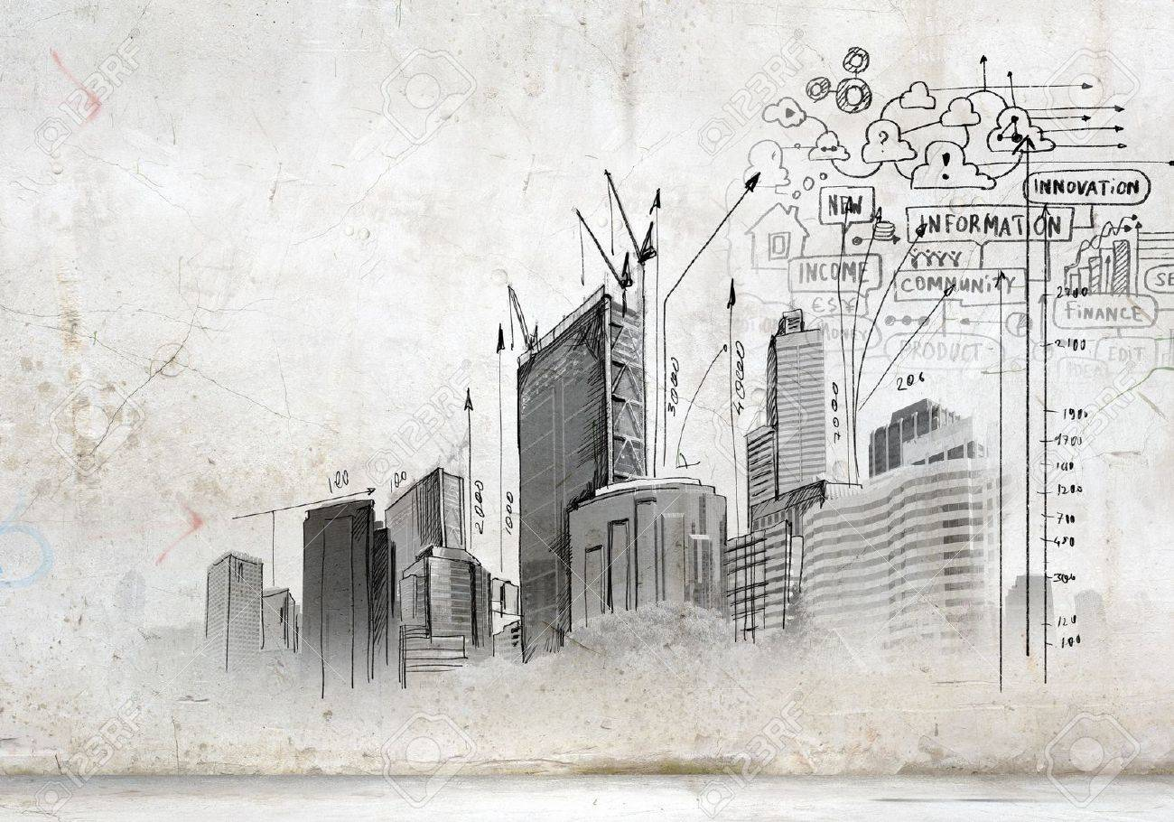 Image with hand drawings of construction project Stock Photo - 21203261