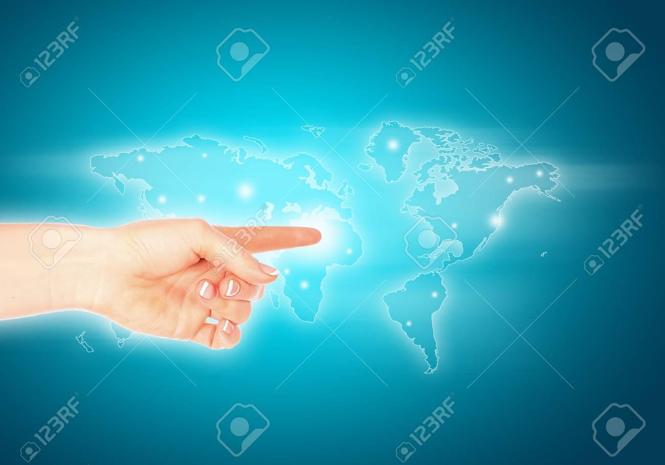 Close up of human hand pushing media icon Stock Photo - 21246996