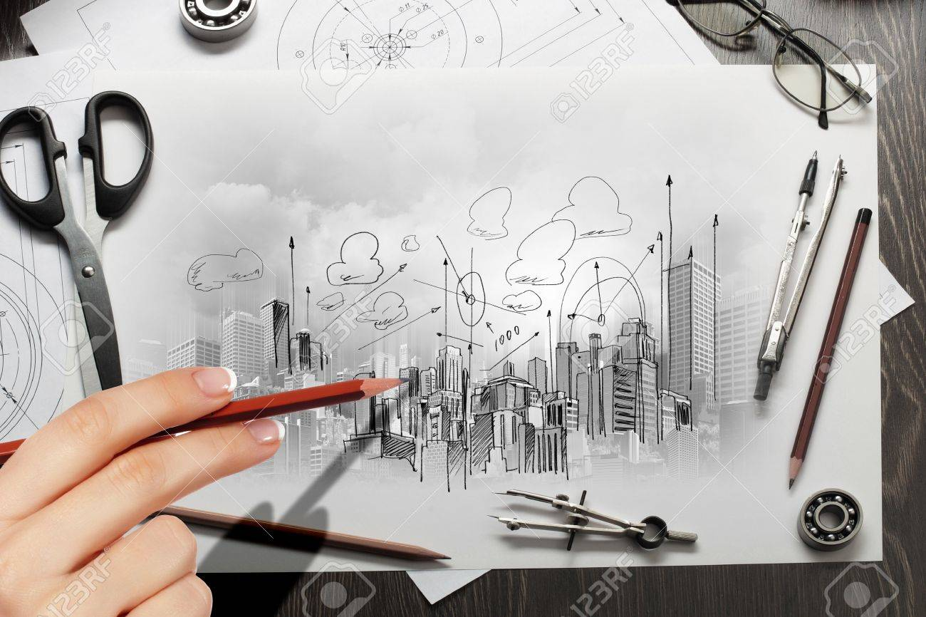 Architectural hand drawn project with set of tools Stock Photo - 21247519