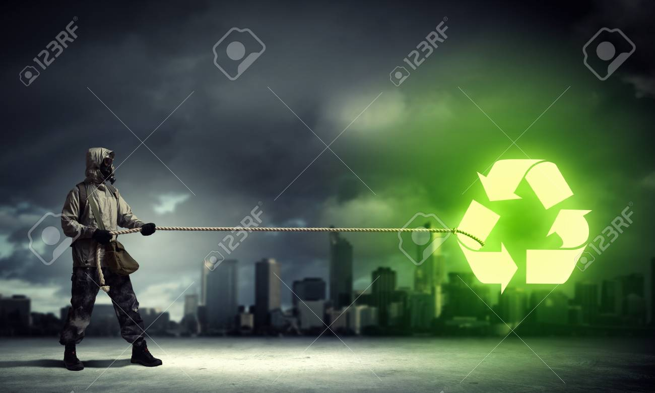 Man in respirator against nuclear background  Recycle concept Stock Photo - 21291544