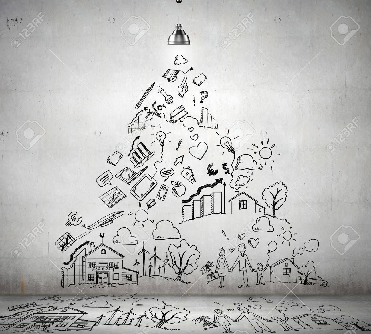 sketch drawing with ideas on wall collage stock photo picture and royalty free image image 21325014 sketch drawing with ideas on wall collage