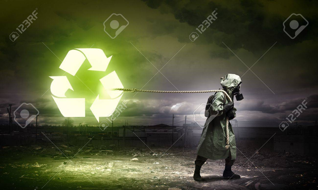 Man in respirator against nuclear background  Recycle concept Stock Photo - 21358367