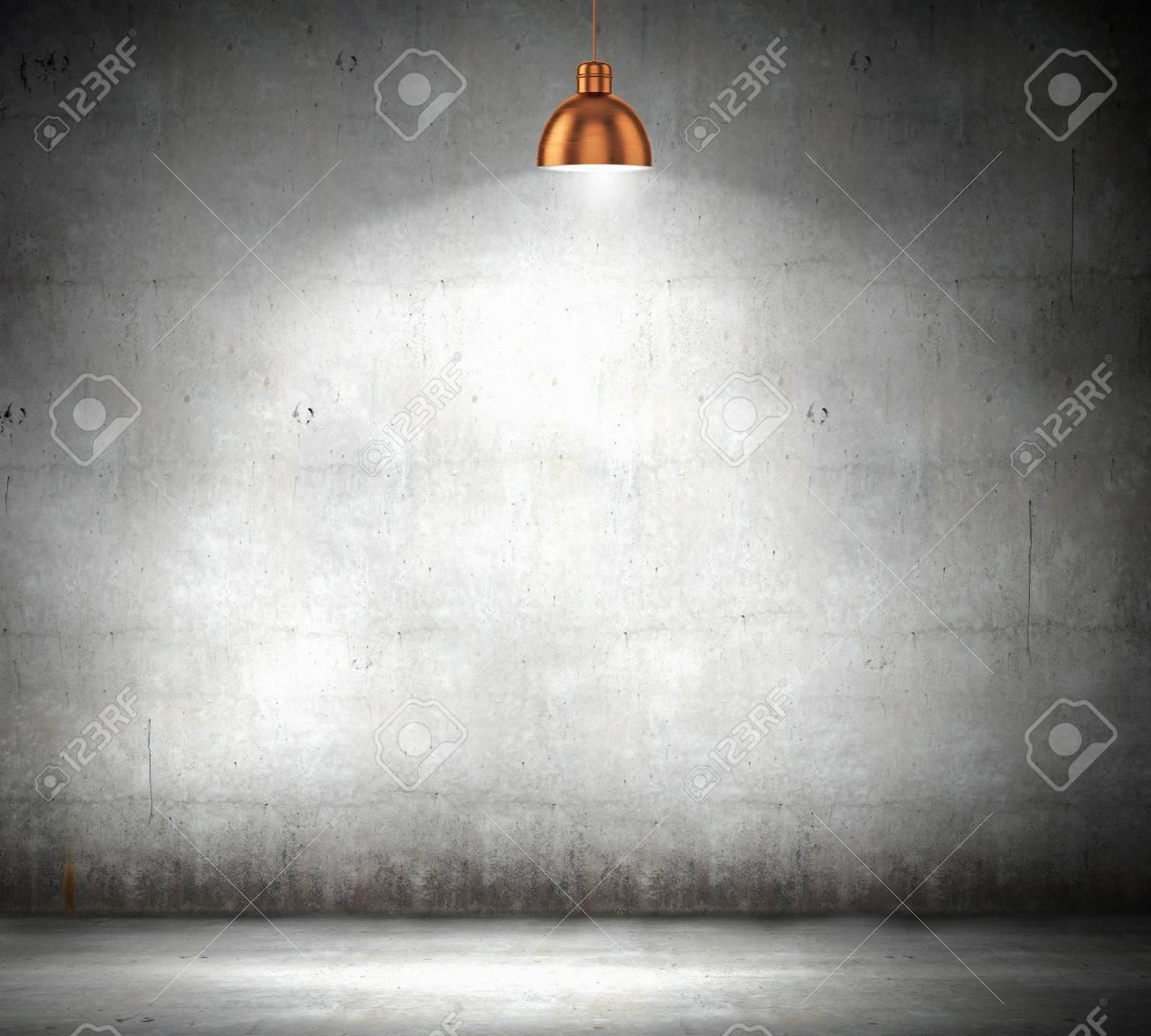 Standard Bild   Stein Leere Wand Beleuchtet Mit über Lampen Platz Für Text  Hängen