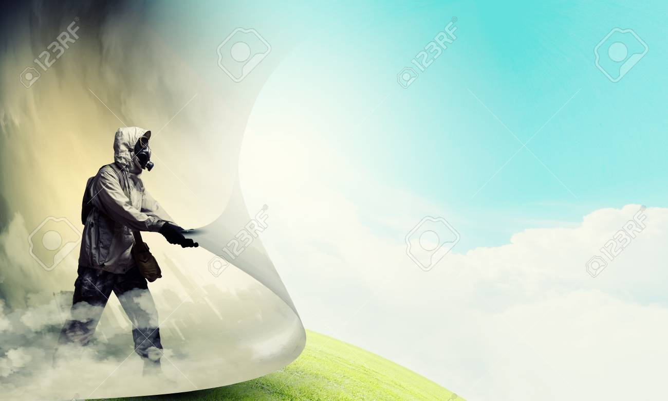 Image of man in gas mask turning page  Ecology concept Stock Photo - 21358416