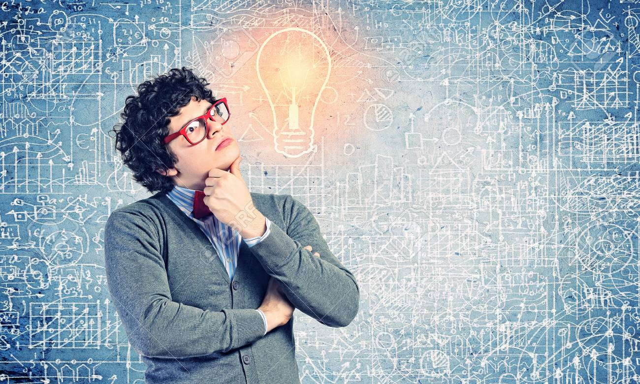 Young man in the process of thinking and finding a solution Stock Photo - 21481313