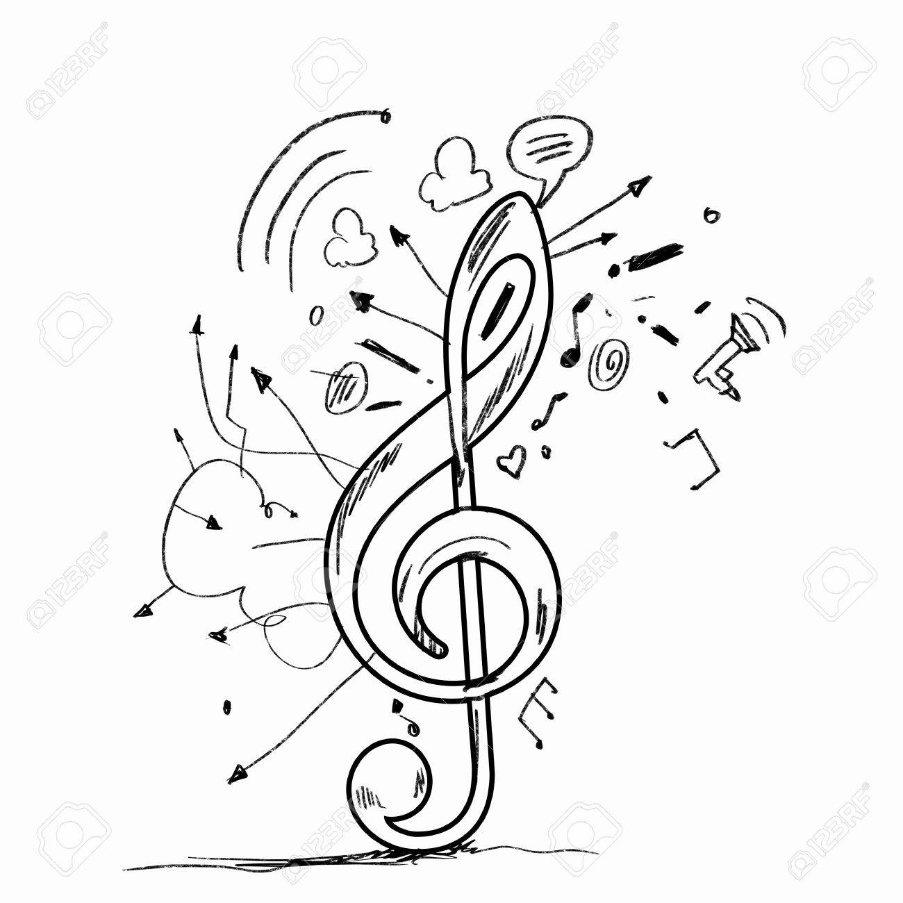 sketch image of music clef icon against white background stock photo 21482284