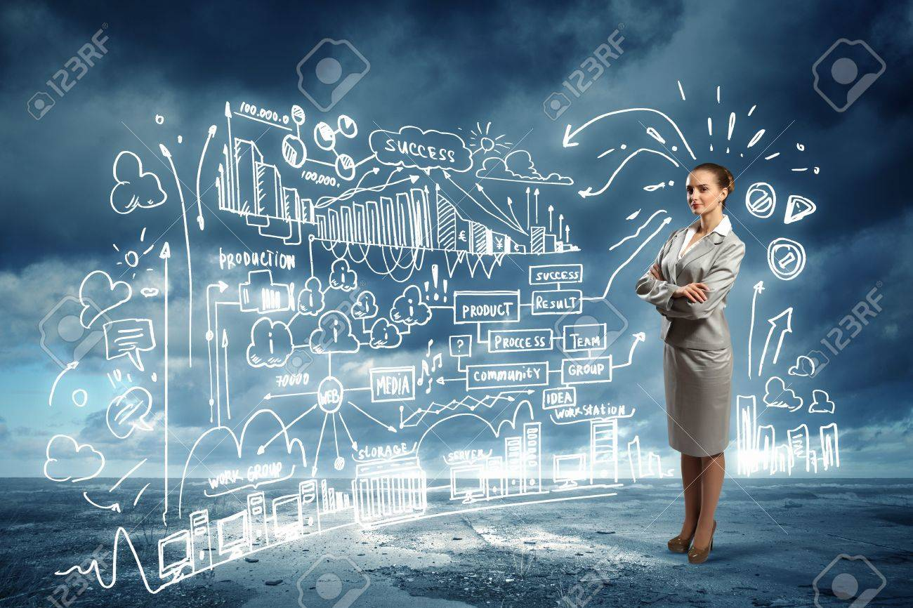 Image of businesswoman standing against business sketch - 21495210