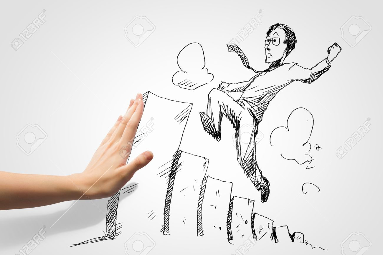 The Line Art Challenge : Hand drawing image of businessman business challenge stock photo