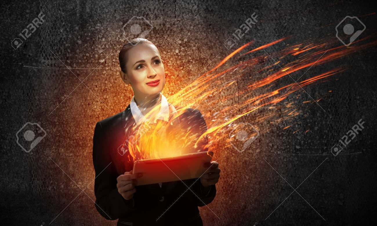 Image of young business woman holding ipad Stock Photo - 21646392