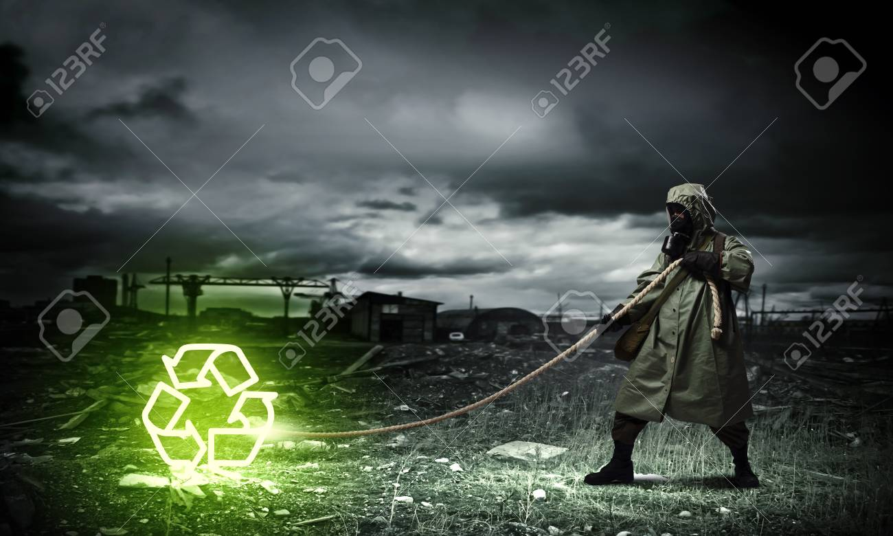 Man in respirator against nuclear background  Recycle concept Stock Photo - 21727544