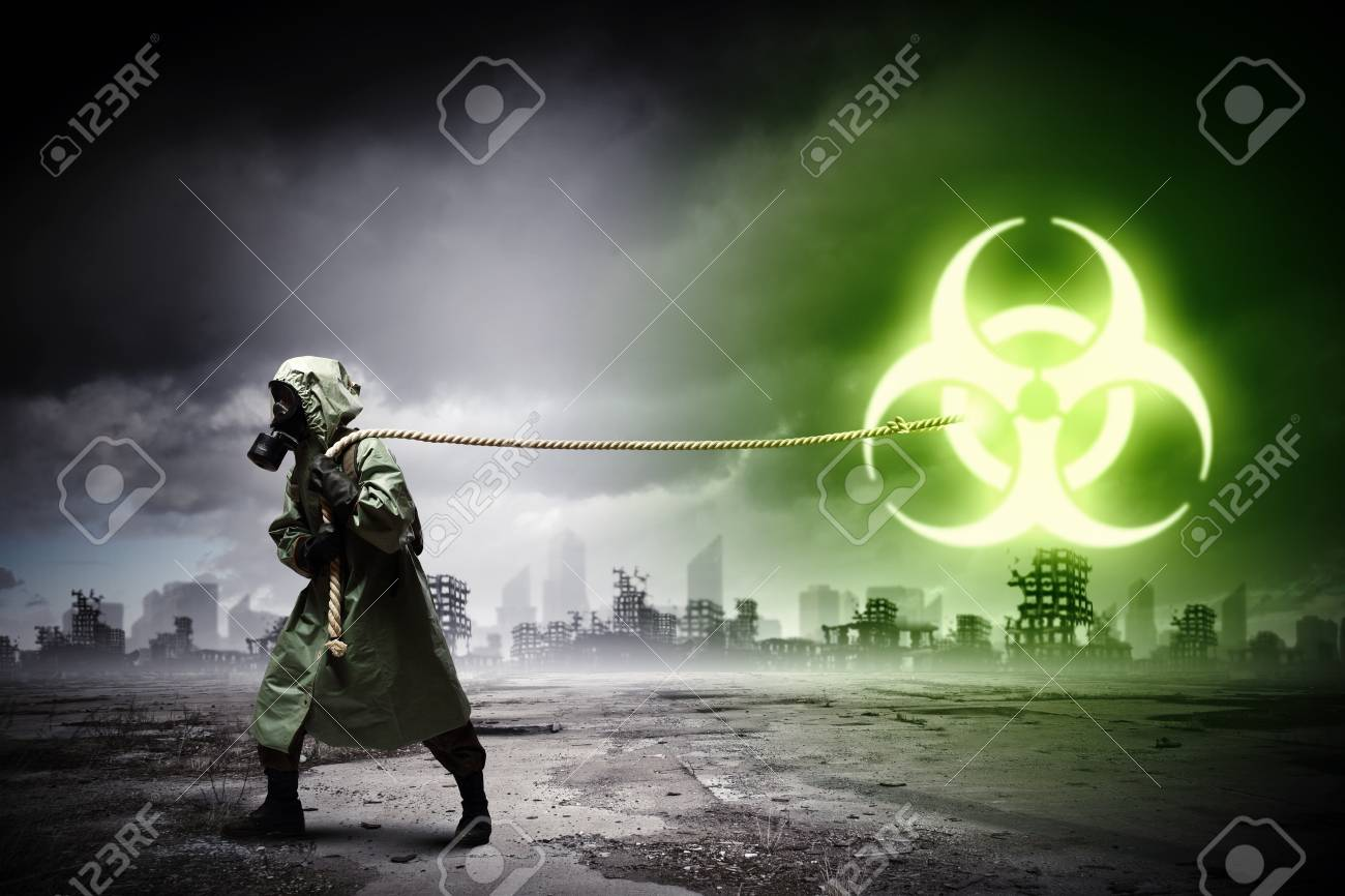 Man in respirator against nuclear background  Radioactivity concept Stock Photo - 21727742