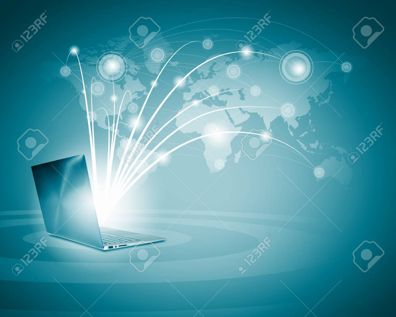 Laptops against globe blue illustration  Globalization concepts Stock Illustration - 21729239