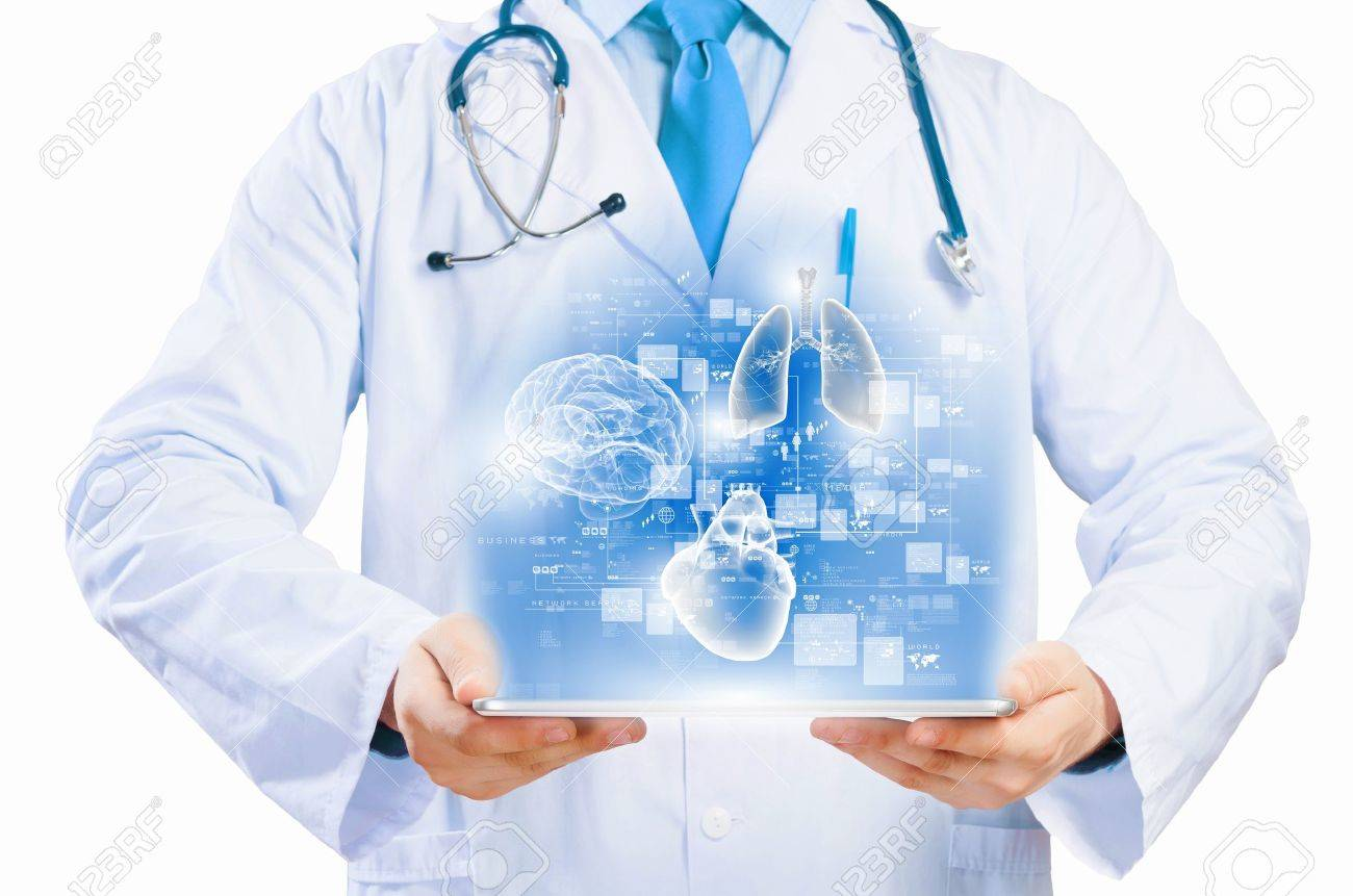 Close up of doctor s body holding tablet pc with media illustration - 22102760